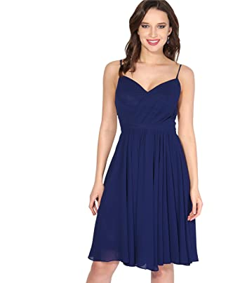 KRISP Chiffon Strappy Midi Dress (Blue, Medium),[U2211-NVY-