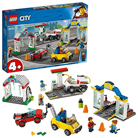 Lego 60232 City Town Garage Center Cars Set With 3 Cars And 4 Minifigures Toys For Kids 4 Years Old