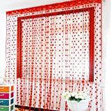 PINDIA Heart Polyester Windows Thread Curtain - 6ft, Red