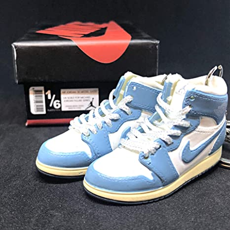 d5ee908a1e8 Amazon.com: Pair Air Jordan I 1 Retro High UNC Carolina Powder Blue White  Vintage OG Sneakers Shoes 3D Keychain Figure + Shoe Box: Everything Else