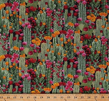 Cotton Cactus Cacti Prickly Pear Plants Floral Desert Flowers Succulents  Nature Landscape Southwestern Cotton Fabric Print