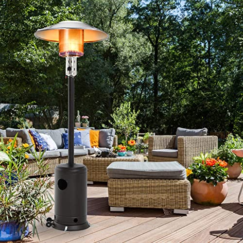 Patio Heater Tall Hammered Finish Garden Outdoor Heater Propane Standing LP Gas Steel w/Accessories Mocha