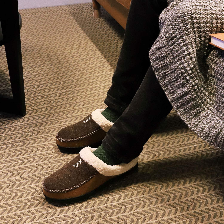 Mens Cozy Fuzzy Wool Fleece Memory Foam Slippers Slip On Clog House Shoes Indoor//Outdoor