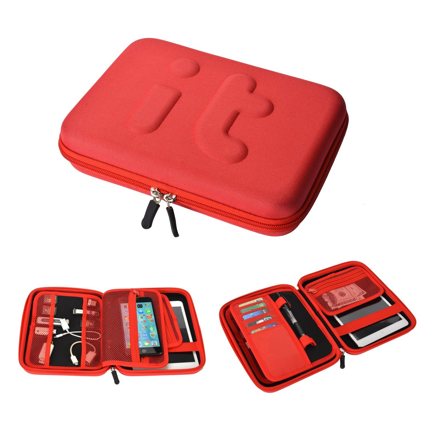 Waterproof Travel Cable Organizer Electronics Accessories Case Organizer Travel Portable Hard Drive Case for iPad Mini, Galaxy Tab, USB Flash Drive, Phone, Charger (Red