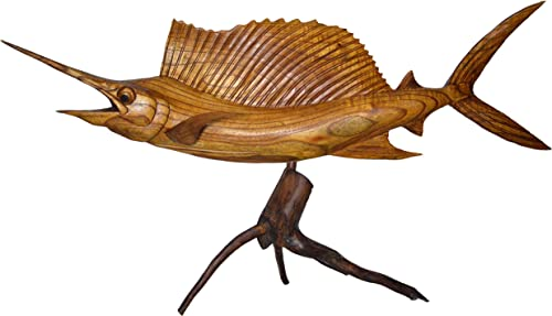 SAILFISH BEAUTIFUL HANDMADE WOOD SCULPTURE STATUE OCEAN MOUNT CARVING SPORT FISH TROPHY ONE OF A KIND