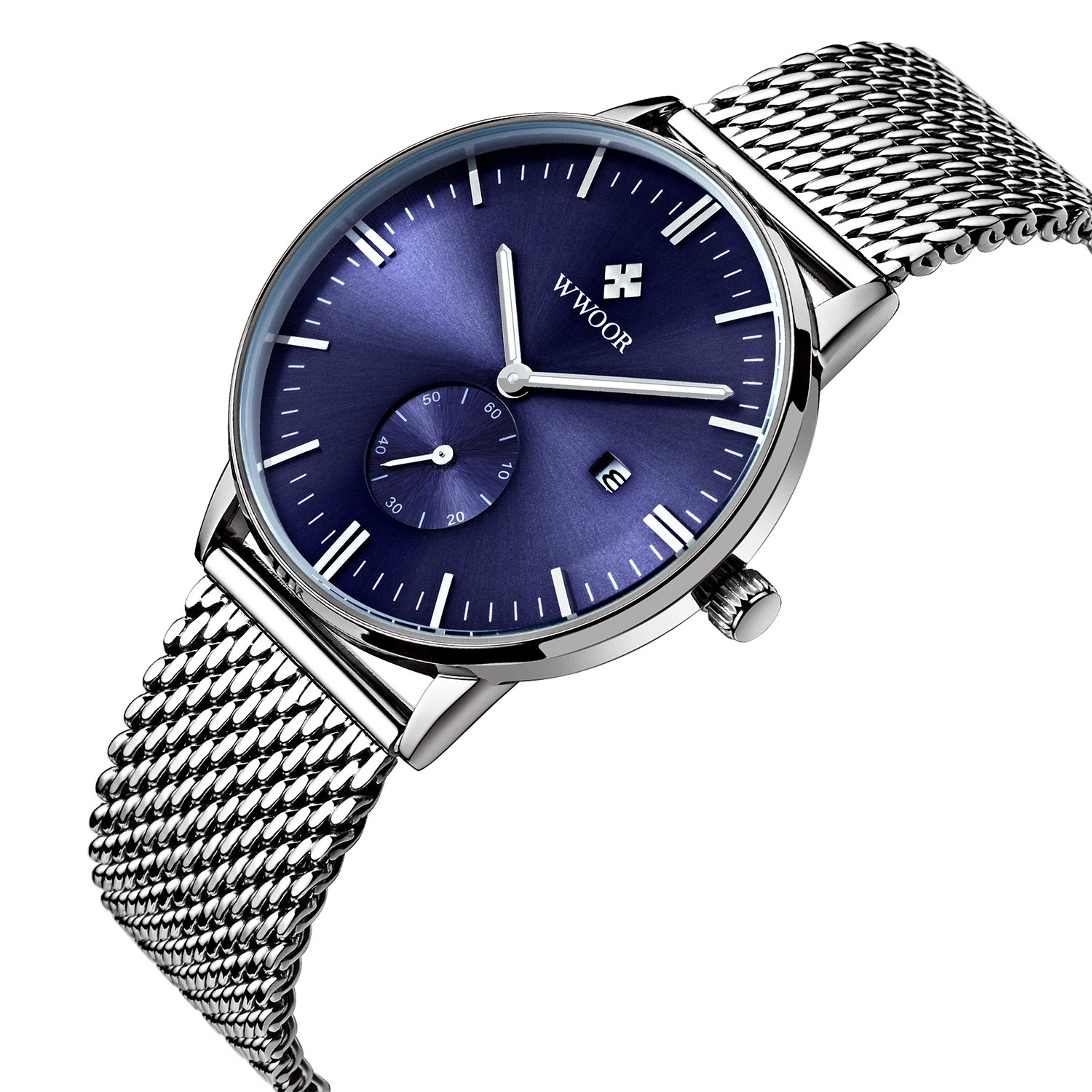 Amazon.com: Mens Luxury Stainless Steel Mesh Band Watch With Date Male Casual Dress Sport Wrist Watches Blue: Watches