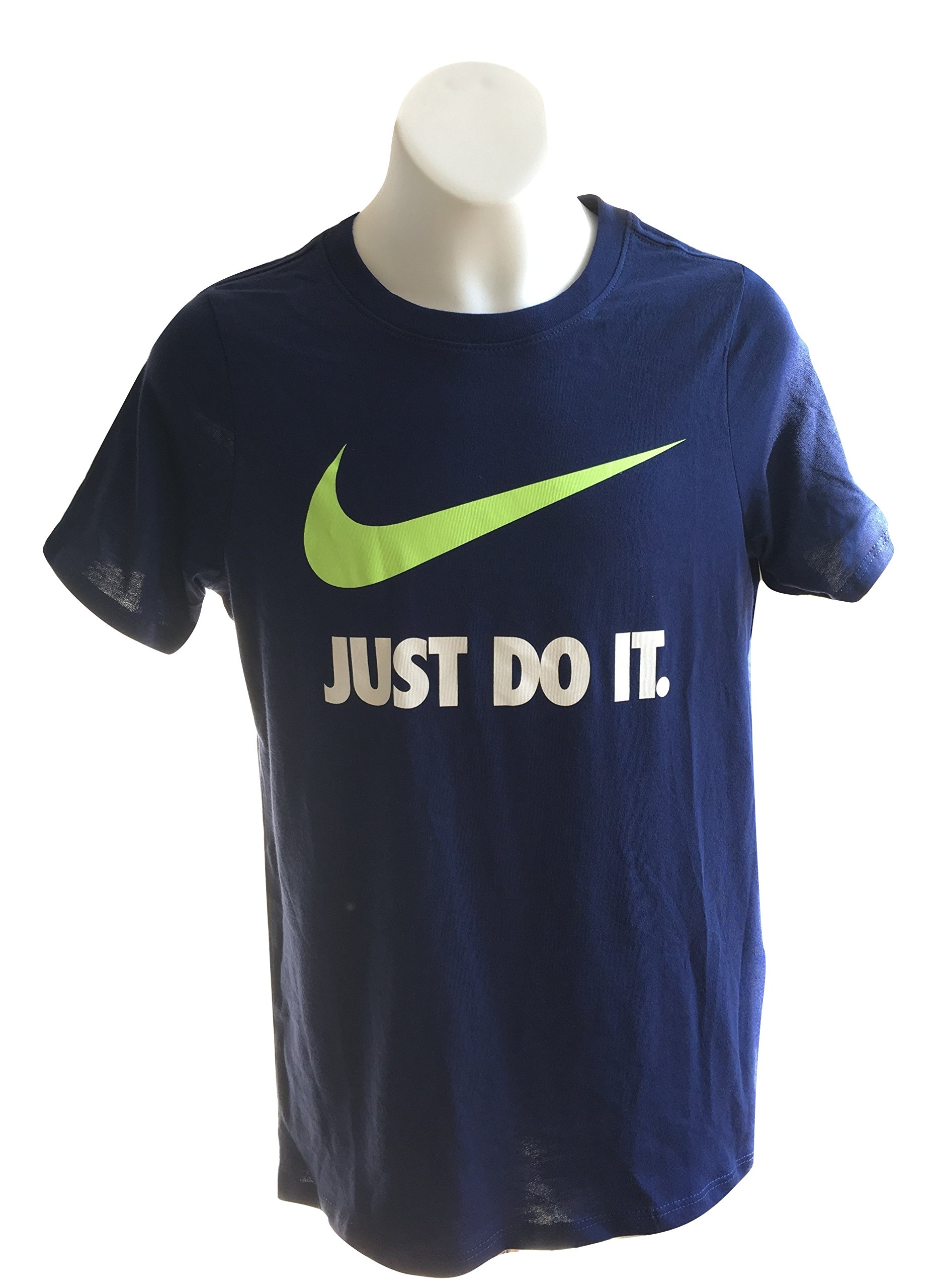 Nike Boy's T-Shirt 709952-430 Blue Just Do It (M, Blue/White/Volt)