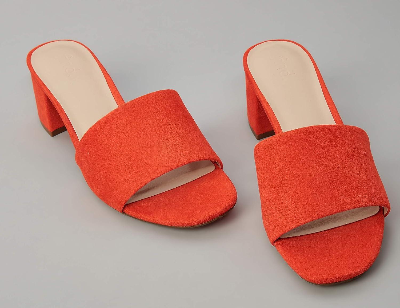 Brand find Womens Block Heel Mule Open-Toe Sandals