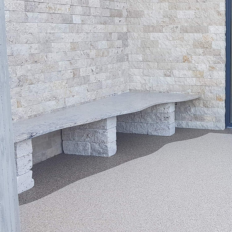 BEKATEQ Steinteppich Set Grauwei/ß 2qm 20kg Marmorkiesel 1,2kg Bindemittel BK-600EP Bodenbelag Marmorkies zur Bodenbeschichtung