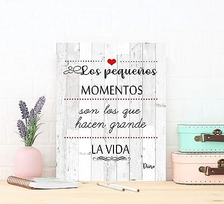 DCine Cuadro Frases/Frases positivas/Cuadro Madera/Regalo/Normas del hogar/Normas de la casa/Carteles Vintage/ 19 cm x 25 cm x 4 mm/ (PEQUEÑOS ...