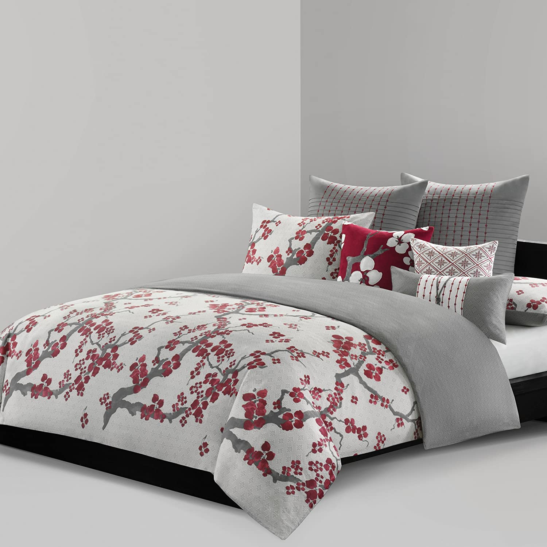 N Natori Cherry Blossom Duvet Cover King Size - Red, Grey , Cherry Blossom Duvet Cover Set – 3 Piece – 100% Cotton Sateen Light Weight Bed Comforter Covers