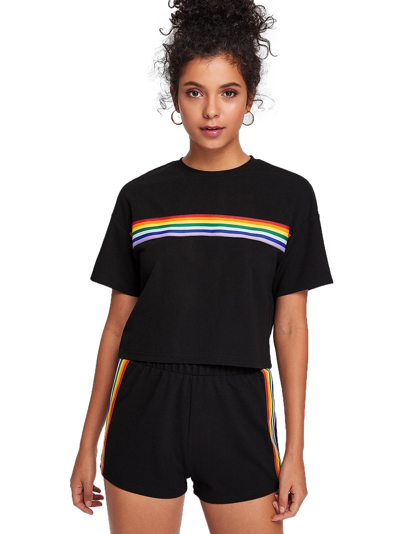 Romwe Women's 2 Piece Set Rainbow Print Casual Crop Cami Top with Shorts Black L