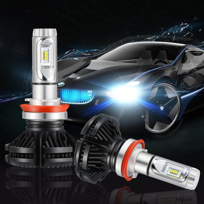 LED Headlight Bulbs All-in-One Conversion Kit 6000K Cool White Kohree H11 H8, H9 DIY 3 Color Temperature Films WhiteGold Ice Blue 6000 Lumen