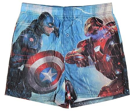 a622f26bfc524 Marvel Comics Captain America Civil War Iron Man Boxer Shorts - Blue -:  Amazon.co.uk: Clothing