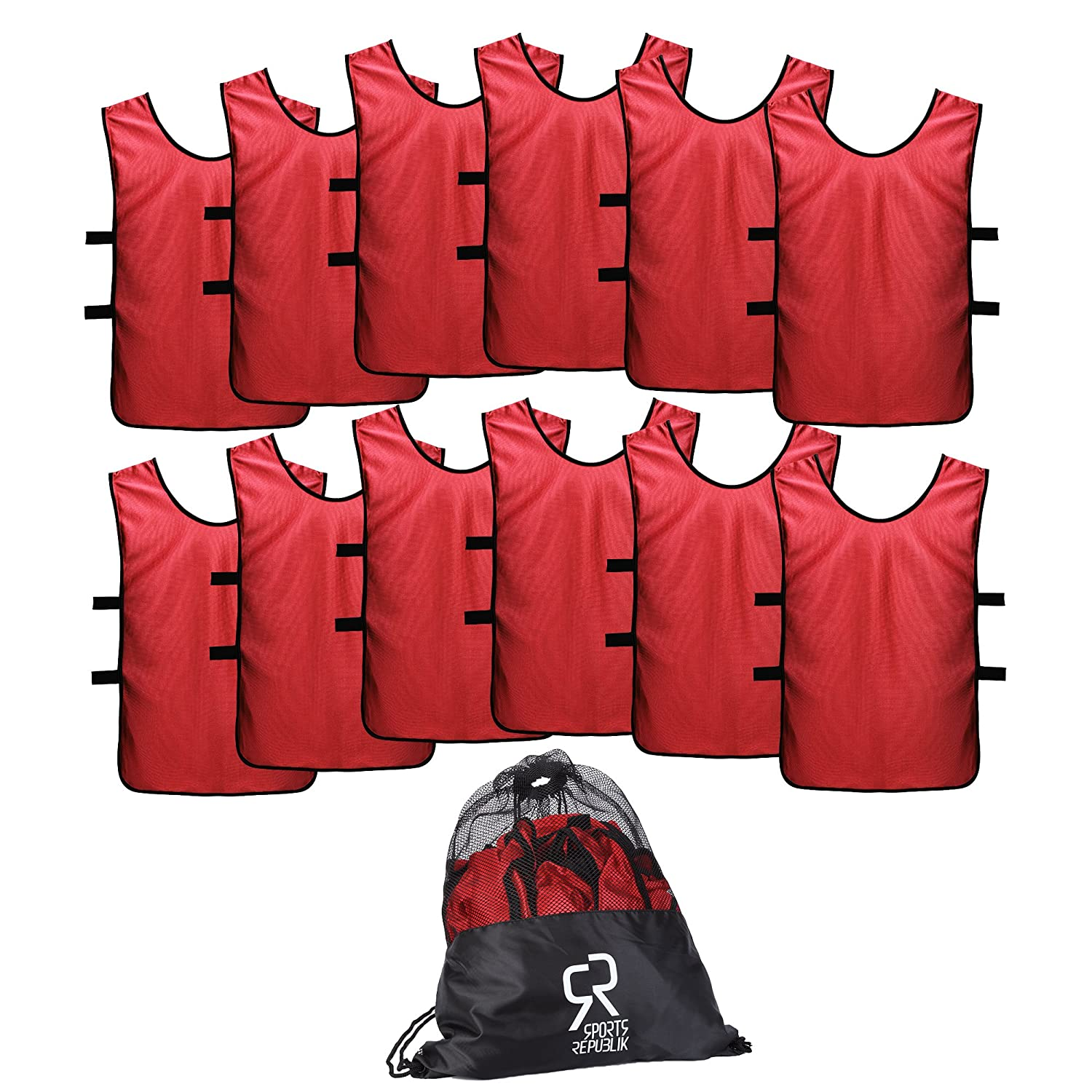 Red XL (Adult 180lbs+) SportsRepublik Pinnies Scrimmage Vests for Kids, Youth and Adults (12Pack)  Soccer Pennies
