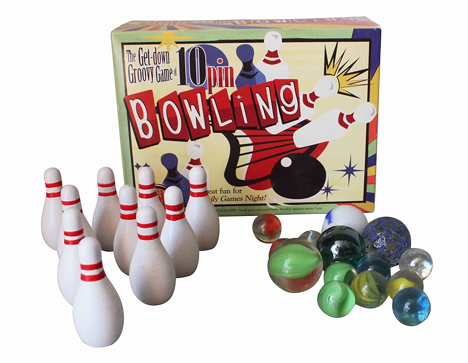 NEW MINIATURE MINI 10 PIN BOWLING TRADITIONAL TABLE GAME WITH GLASS MARBLES HOM