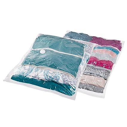mDesign Juego de 2 bolsas al vacío para ropa (XL) – Bolsas para guardar ropa al vacío en armarios, cajones y cómodas – Bolsas ahorra espacio fáciles ...