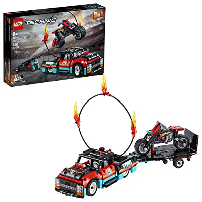 LEGO Technic Stunt Show Truck & Bike 42106; Includes Stunt Motorcycle, Toy Truck and Trailer, New 2020 (P10 Pieces): Toys & Games