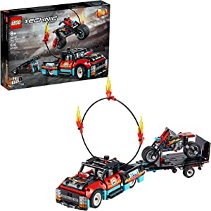 LEGO Technic Stunt Show Truck & Bike 42106; Includes Stunt Motorcycle, Toy Truck and Trailer, New 2020 (P10 Pieces)