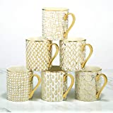 """Certified International Mosaic 14 oz. Gold Plated Mugs, Set of 6, 4.75"""" x 3.25"""" x 3.75"""","""