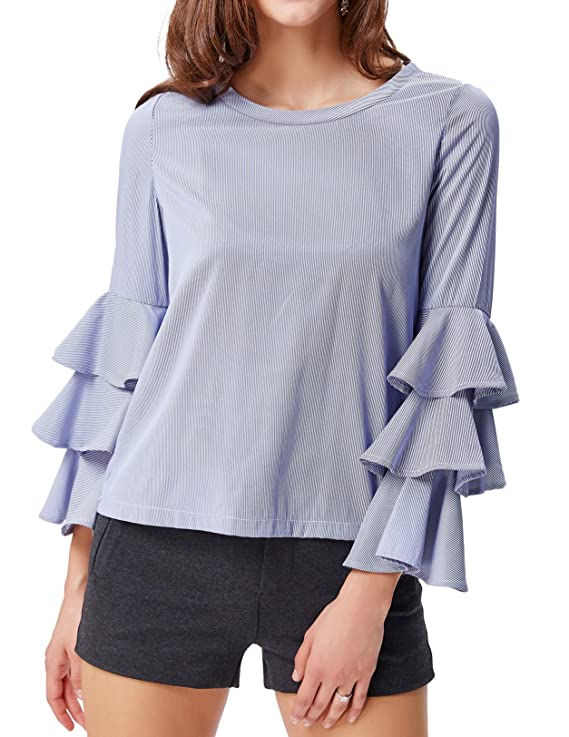 Women's Round Neck Blouse Fashionable Shirts for Spring(M,Blue Striped)