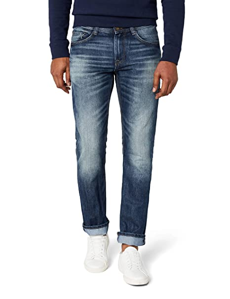 TOM TAILOR Herren MARVIN Straight Jeans , Blau (Mid Stone Wash Denim 1052) , W29L32