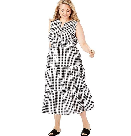 Woman Within Women\'s Plus Size Sleeveless Tiered Seersucker Tassel-Tie Dress