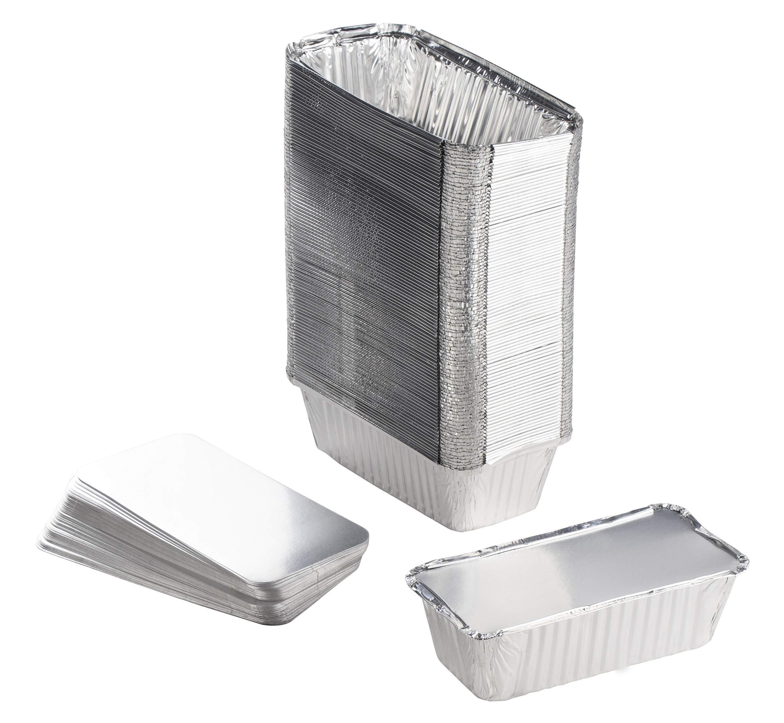 Aluminum Foil Pans - 100-Piece Loaf Pans With Lids, Deep Disposable Steam Table Pans for Baking, Serving, Roasting, Broiling, Cooking, 8.1 x 2.4 x 4.2 Inches, 20.4-Ounce Capacity by Juvale (Image #1)