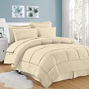 Sweet Home Collection 8 Piece Bed In A Bag with Dobby Stripe Comforter, Sheet Set, Bed Skirt, and Sham Set - King - Beige