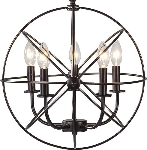 BTExpert 5078 Industrial Vintage Bronze Ceiling Chandelier 5 Lights Metal Hanging Fixture