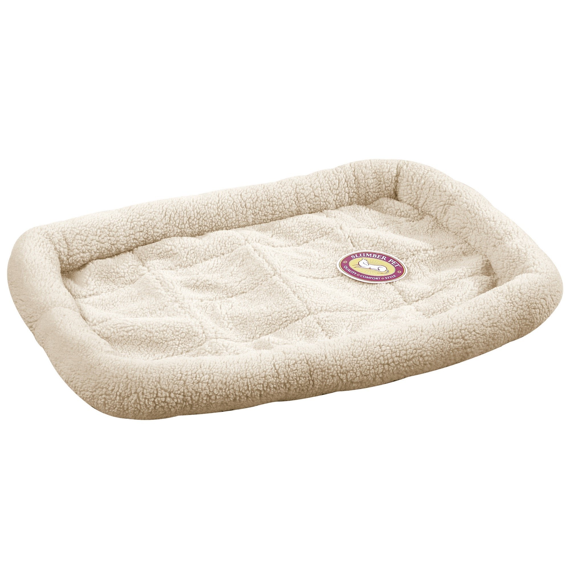 Slumber Pet Sherpa Crate Beds  - Comfortable Bumper-Style Beds for Dogs and Cats, Large, Natural Beige