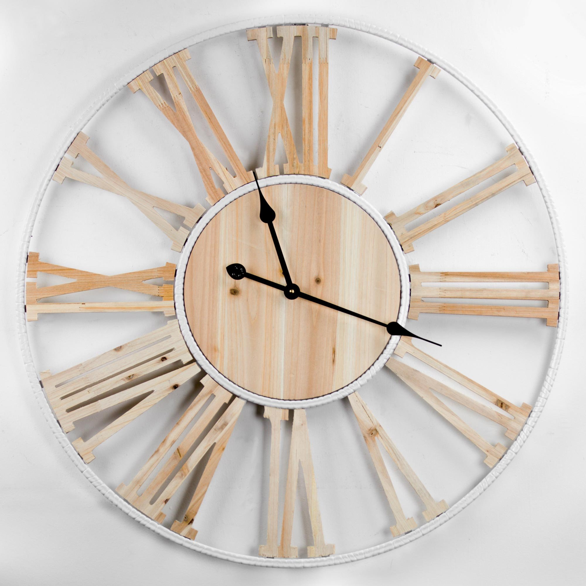 American Art Décor Natural Wood and White Metal Open Round Analog Wall Clock with Roman Numerals Metal Hands Battery Operated Farmhouse Kitchen Living Room Dining Room Farmhouse Decor
