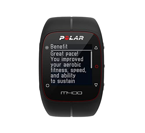 POLAR Unisex M400 GPS Watch with Heart Rate Monitor, Black, One Size