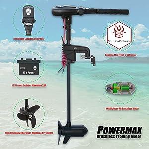 SEAMAX 12V PowerMax 2HP Brushless Trolling Motor, Stepless Speed Control, 65 Pound Thrust, 40 Inch Shaft