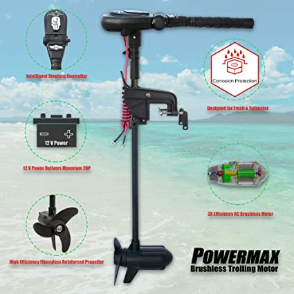 Seamax 12V PowerMax 2HP Brushless Trolling Motor, Stepless