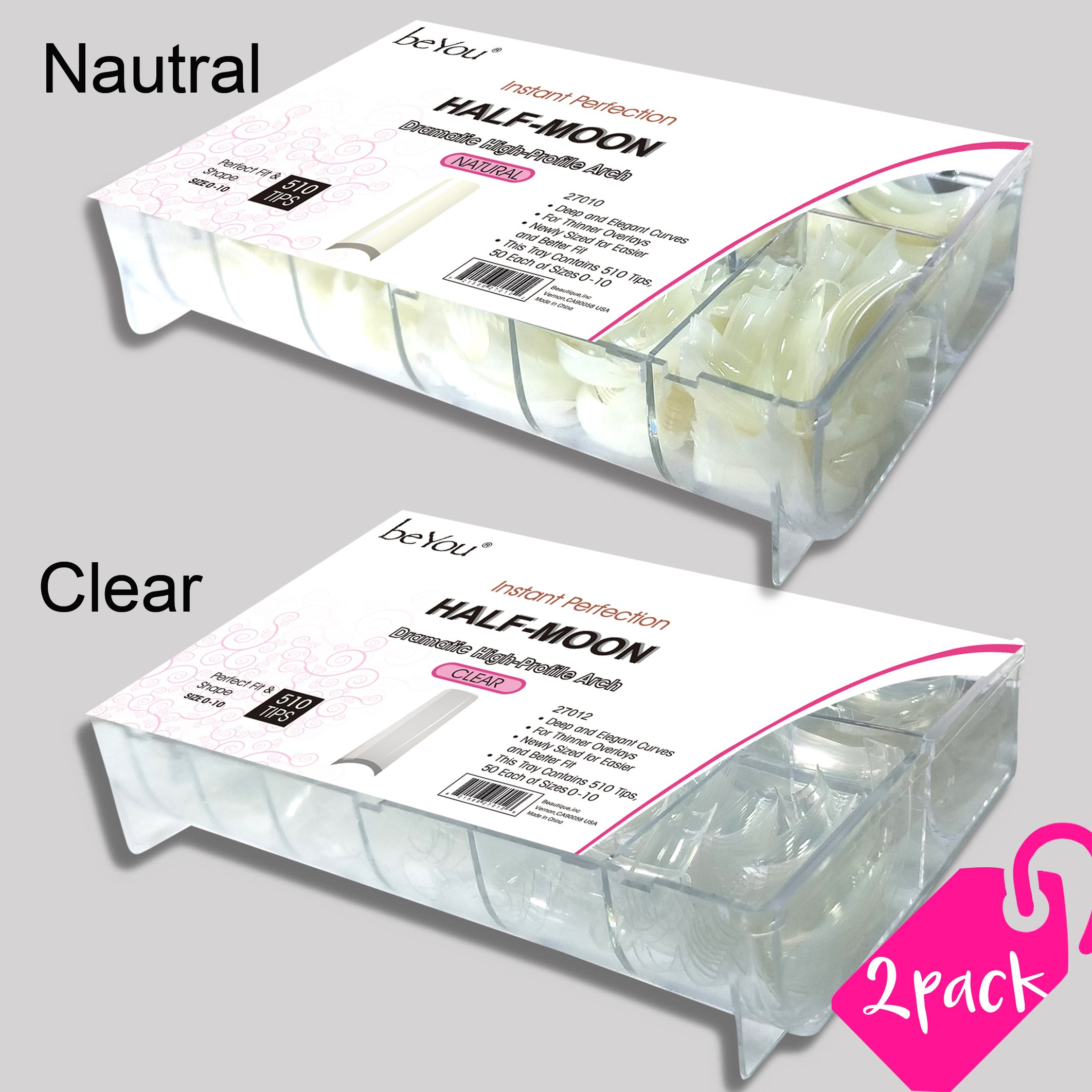beYou 2PACK Natural/Clear Half-moon 550 Artificial Fake Nails (total 1100Tips) 11Sizes For Nail Salon Nail Shop 27010/27012 (Half-Moon) by BE.YOU.