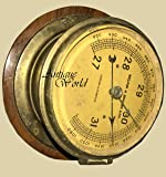 Antiques World Antique Old Brass English Made Ships Marine Nautical Collectible London & Glasscow Aneroid Weather Inches M bars Barometer AWUSAHB 0264
