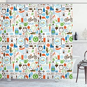 Ambesonne Fitness Shower Curtain, Sports and Diet Balance Nutrition Bicycle Organic Fresh Food Poultry Juice Vitality, Cloth Fabric Bathroom Decor Set with Hooks, 70