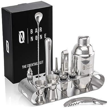 Bar None The Cocktail Set | 12-Piece + Stand Bar Set | Exquisite Quality Bartender Kit + Tools | Martini Shaker, Jigger, Shots, Muddler, Spoon, Ice Tongs, Corkscrew Knife Bottle Opener & Liquor Pourer
