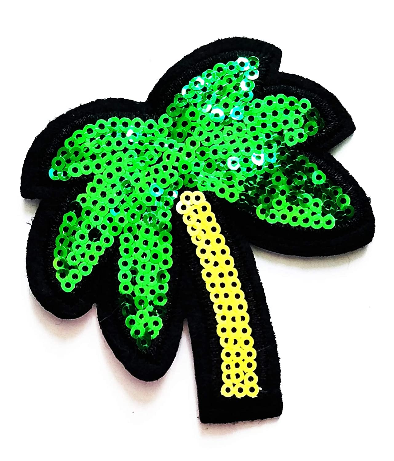 Nipitshop Patches Beautiful Green Coconut Palm Tree Island Summer Beach Hawaii Sequin Patch Embroidered Iron On Patch for Clothes Backpacks T-Shirt Jeans Skirt Vests Scarf Hat Bag