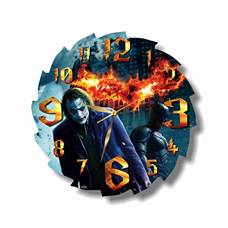 Art Time Design Studio 2 Joker Batman Wall Clock Quiet Sweep Movement Wall Clock Decorative Battery Operated 11 8 Inch For Devoted Fans Of Dc
