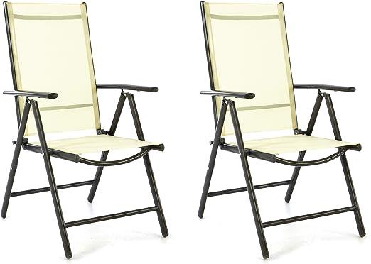 Juego de 2 sillas plegables jardín – Silla plegable Silla de camping silla tumbona – Asiento Muebles – Silla plegable de aluminio y plástico – Color Crema (tela)/antracita (Marco): Amazon.es: Jardín