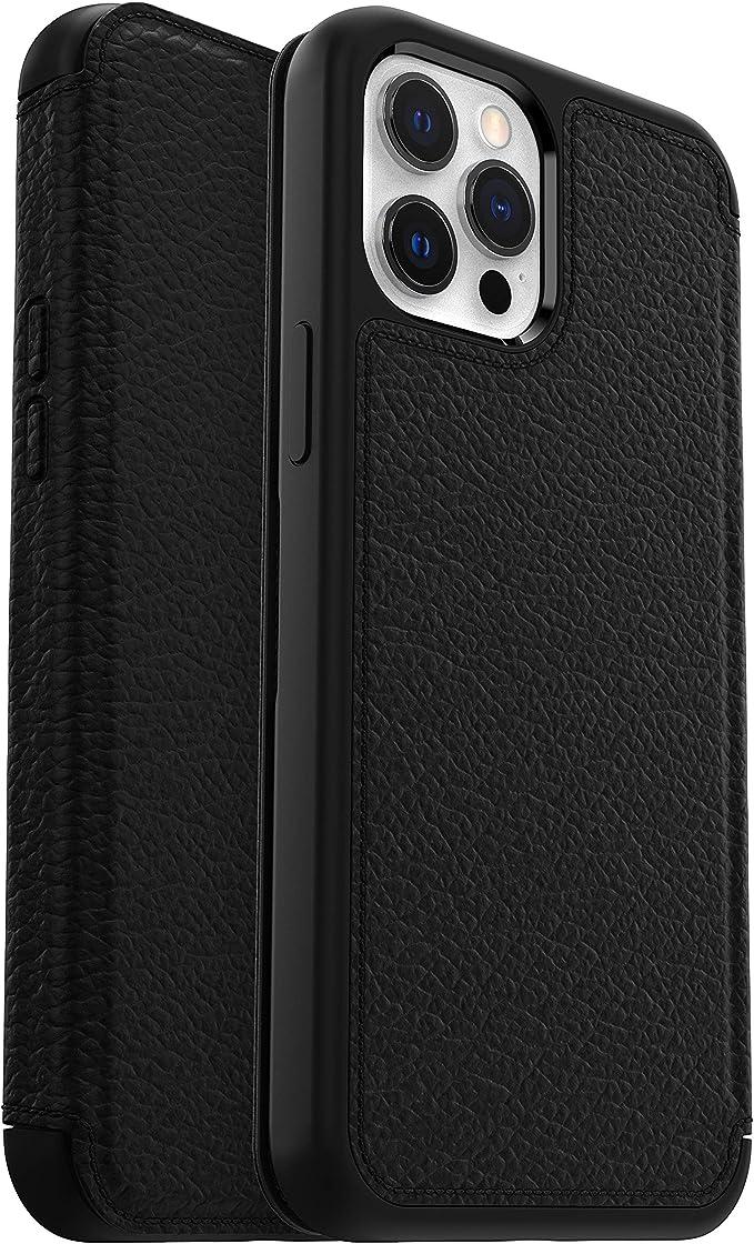 Otterbox Strada Elegante Sturzsichere Folio Schutzhülle Aus Echtem Leder Für Apple Iphone 12 Pro Max Schwarz Elektronik
