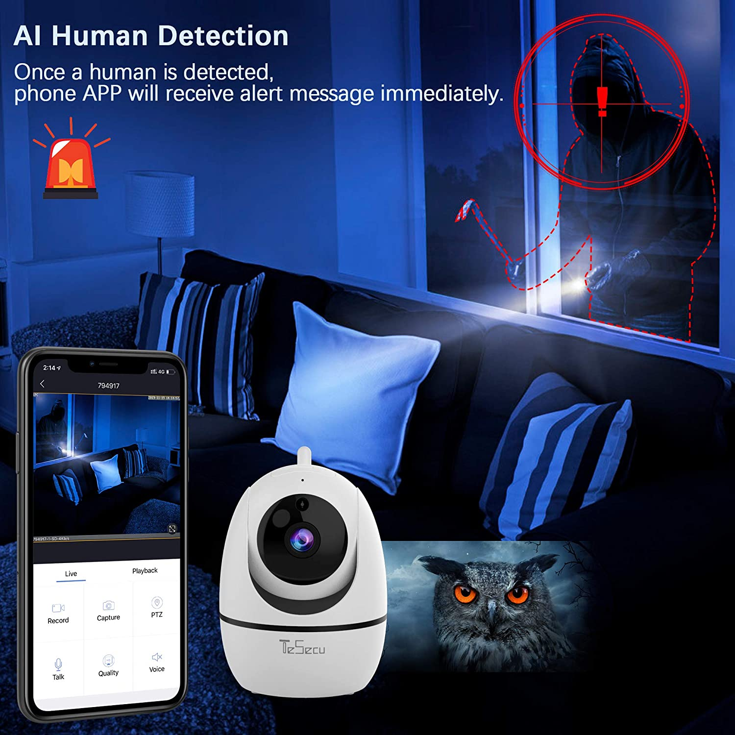 Security Camera, Tesecu 1080P WiFi Dog Pet Camera with AI Human Detection, 2-Way Audio, Night Vision, 2.4Ghz Wireless Indoor Home Camera Baby Monitor Remote Surveillance, Android, iOS App