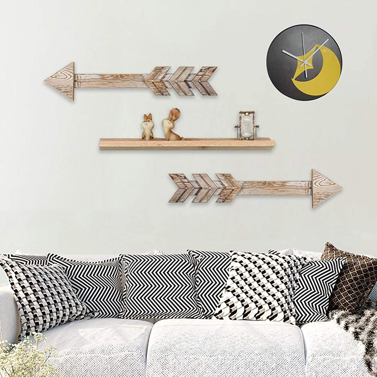TIMEYARD Arrow Decor, Set of 2 Arrows, Rustic Wood Arrow Sign Wall Decor - Decorative Farmhouse Home Wall Hanging Decor