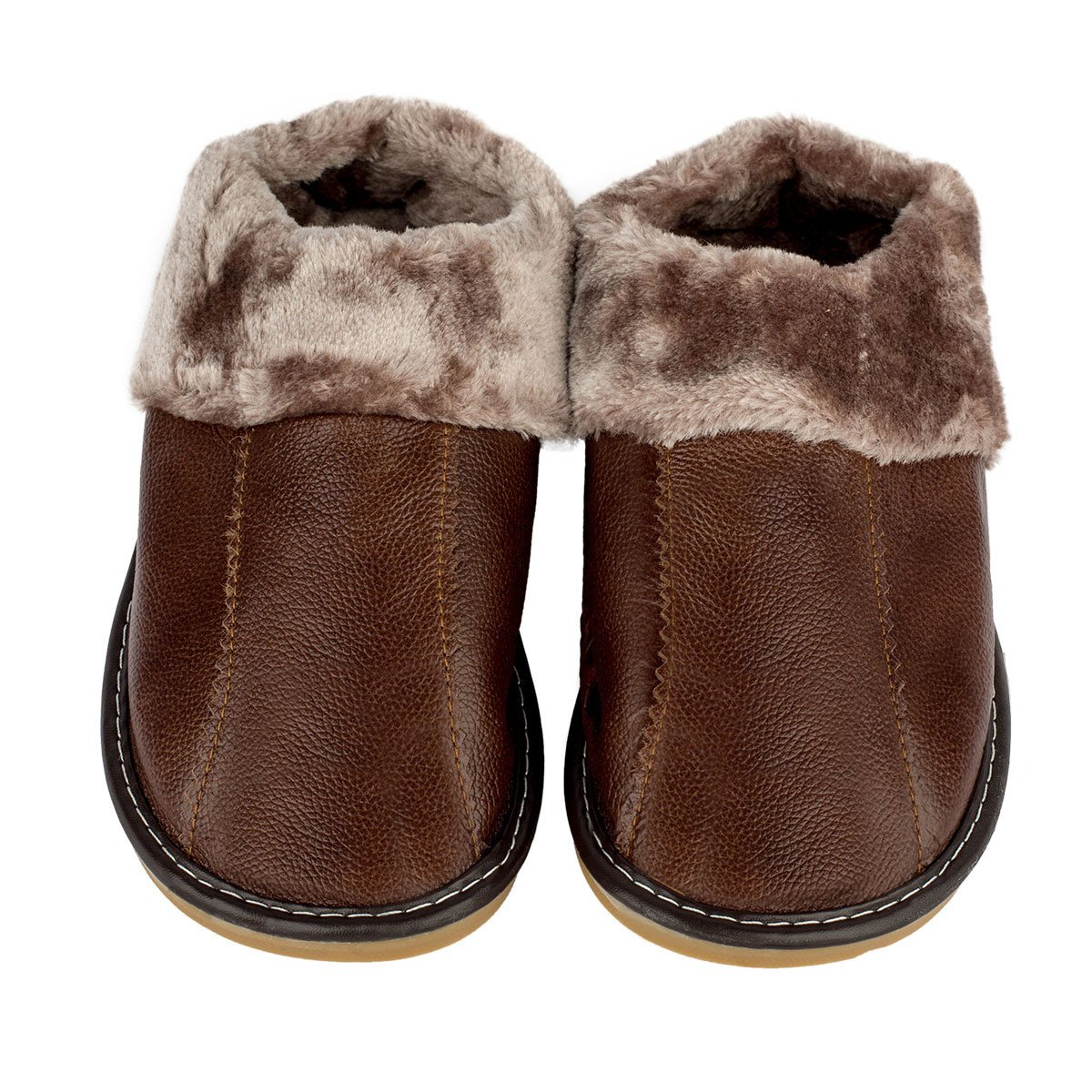 Haisum Men Comfortable Leather Slippers Plush Lining Slip-On House Shoes Non-Slip Bedroom Slippers