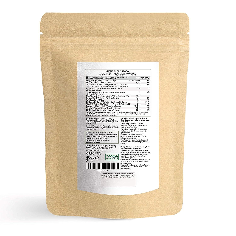 Cáscara de Psyllium Ecológico [99% Pureza] 400g. Psyllium Husk, Natural y Puro. 100% cutícula de semillas de Psilio Orgánico, producido en India. Rico ...