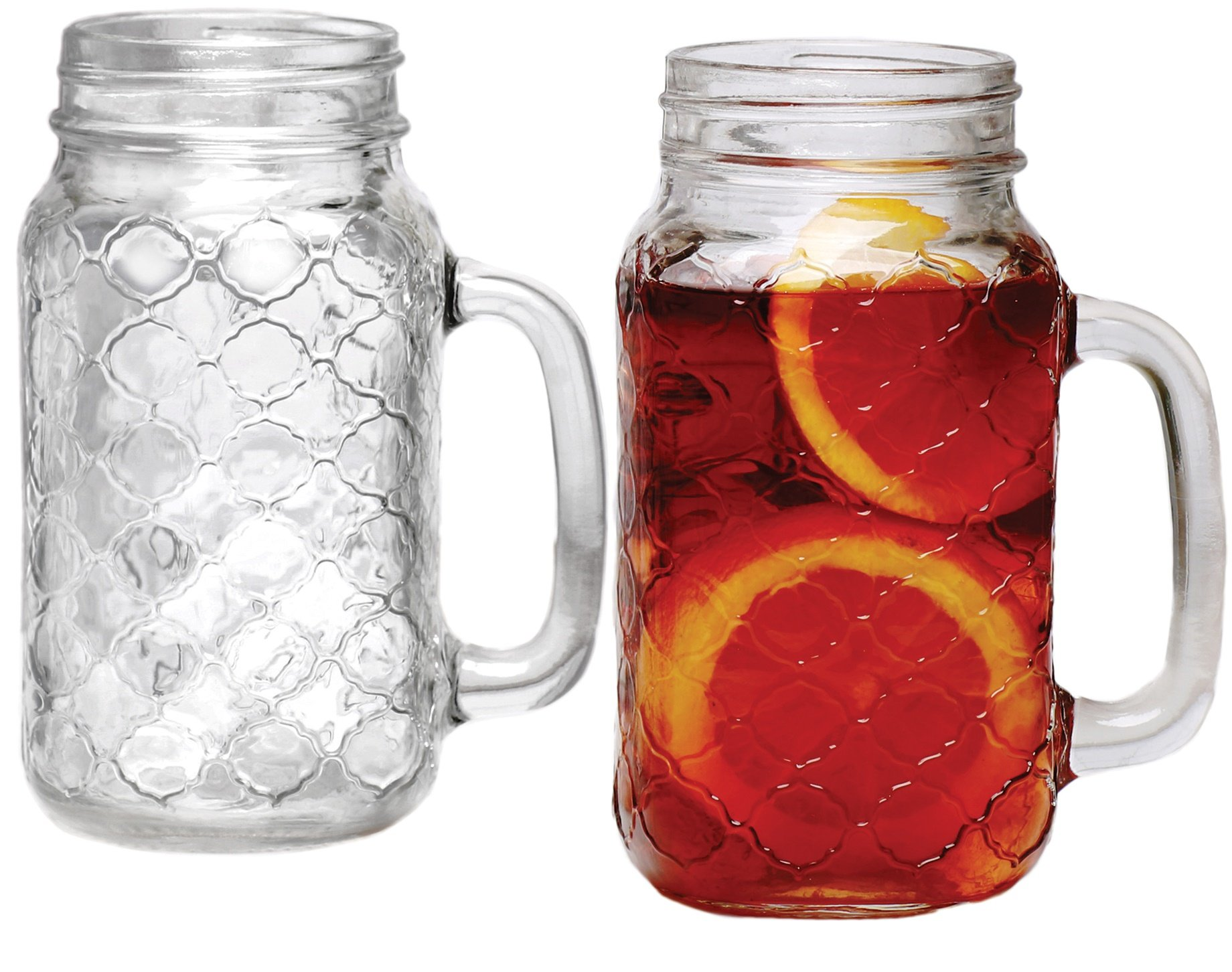 Circleware 68122 Garden Gate Yorkshire Mason Jar Mugs with Glass Handles, Set of 4 Beverage, Water, Juice, Beer Glassware Drinking Cups, 24 oz by Circleware (Image #1)