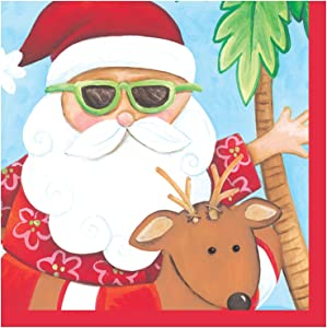 Creative Converting 18 Count Beverage Napkins, Santa's Holiday, Red/Green/White