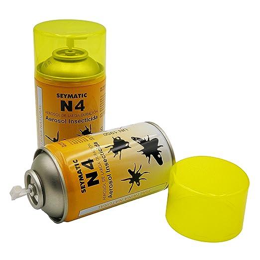 Insecticida Profesional Seymatic N4, con Piretrinas Naturales. Repele y mata fulminantemente Moscas, Mosquitos y cualquier insecto volador. Aroma suave.
